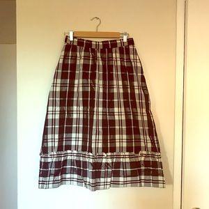 *TWO FOR $15* Vintage B/W Plaid Prairie Midi Skirt
